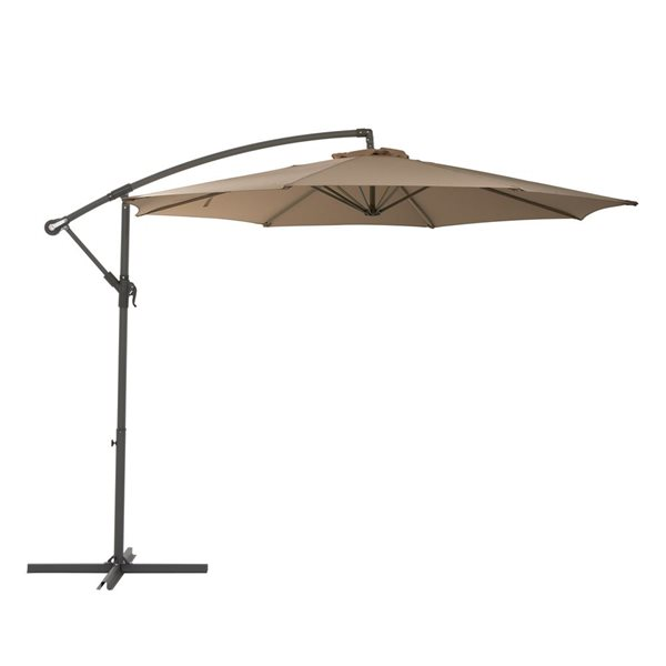 https www lowes ca product patio umbrellas corliving offset patio umbrella sandy brown 330608043