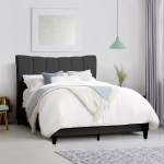 Corliving Vertical Channel Tufted King Bed Dark Grey Fabric King Lowe S Canada