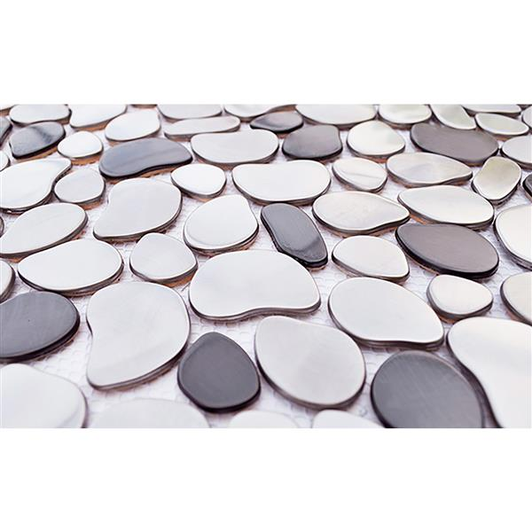 eden mosaic tiles river rock mosaic stainless steel tile black silver 11 pack