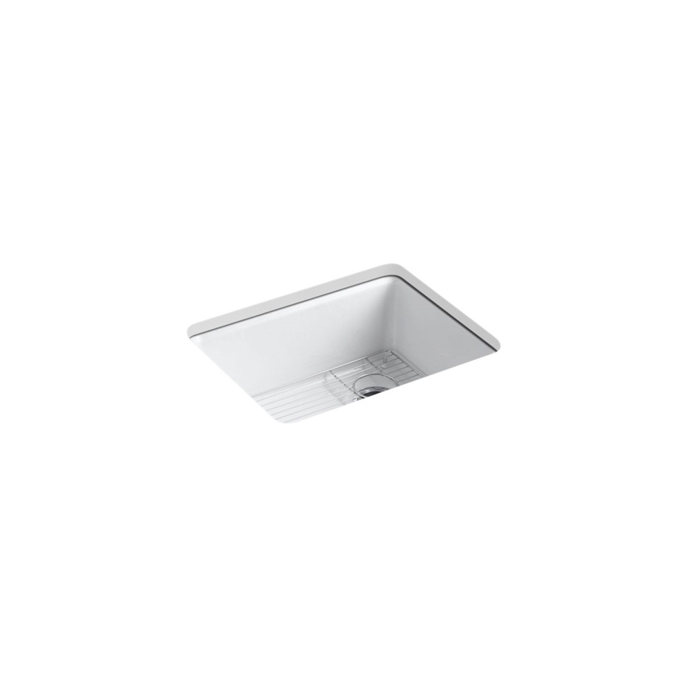 kohler riverby undermount single bowl kitchen sink with rack white 25 in