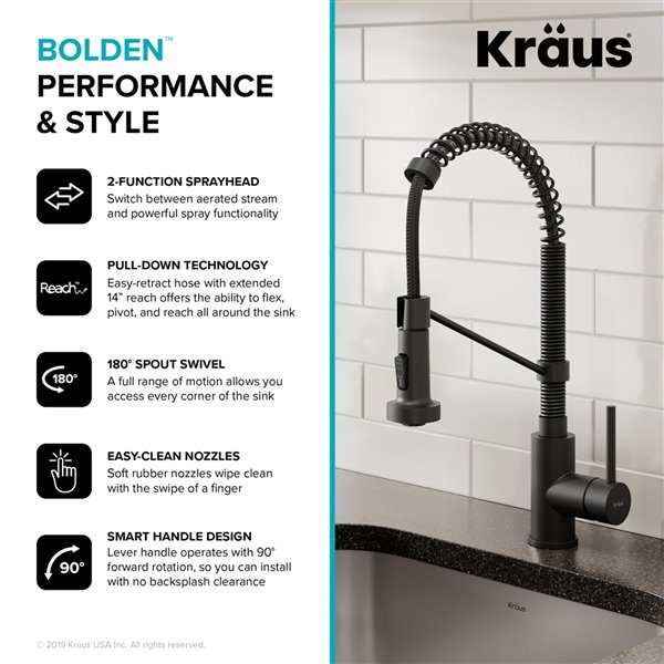 https www lowes ca product kitchen faucets kraus bolden single handle commercial kitchen faucet in matte black finish 18 in 330730382
