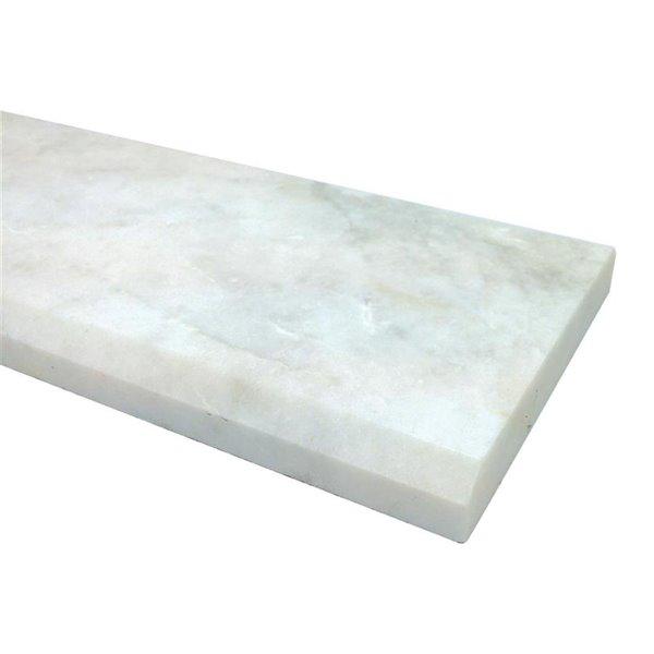 american olean 36 in x 4 in snowflake white marble threshold