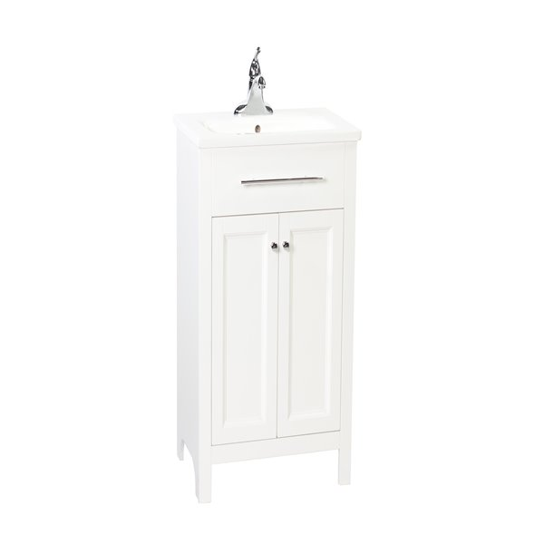 foremost madison 24 in white bathroom vanity with integrated sink