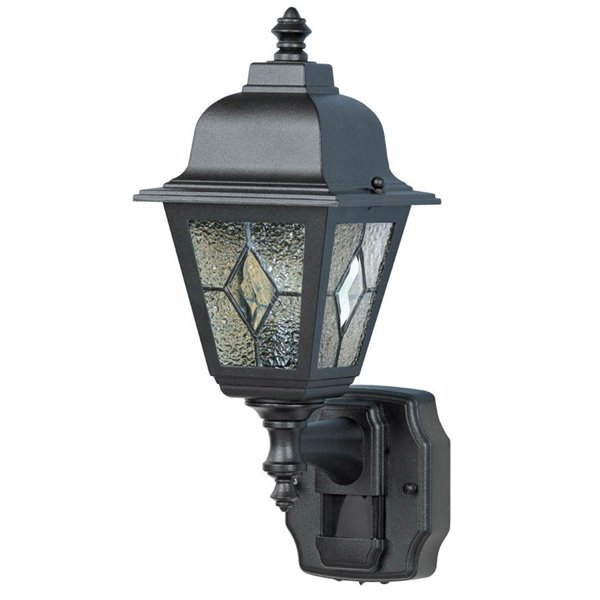 heath zenith 7 75 in h black motion sensor outdoor wall light