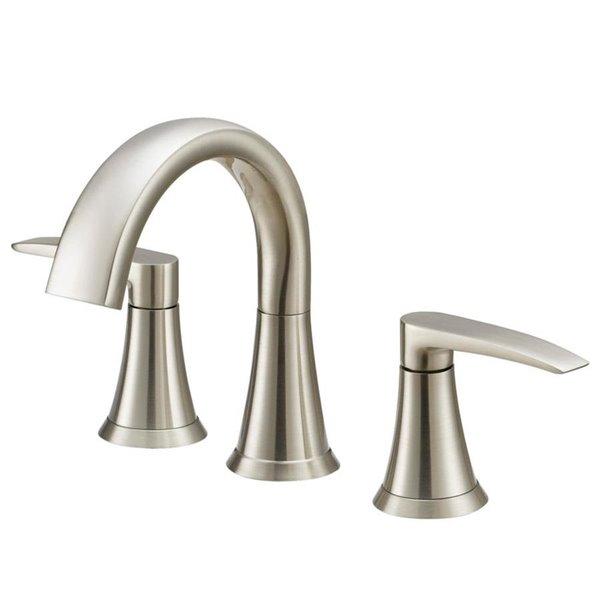 jacuzzi lyndsay brushed nickel 2 handle widespread watersense bathroom sink faucet with drain valve included