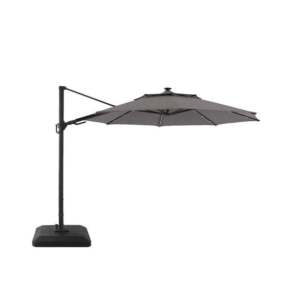 style selections cantilever umbrella led aluminum olefin 11 in grey black