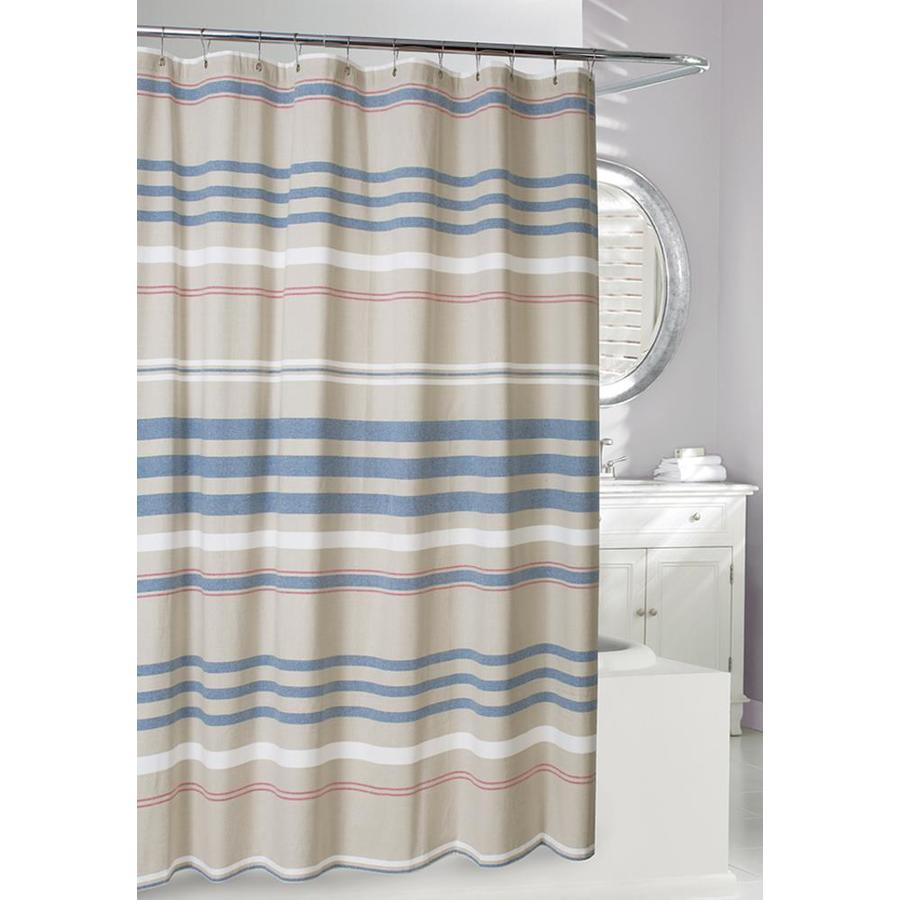 moda at home restoration cotton striped blue tan striped shower curtain