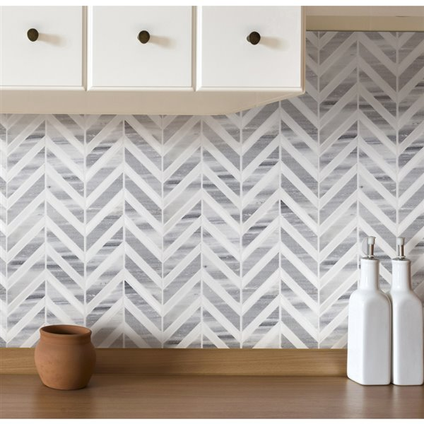 bestview white and grey polished chevron mosaic natural stone marble floor and wall tile common 11 in x 12 in actual 11 42 in x 12 2 in