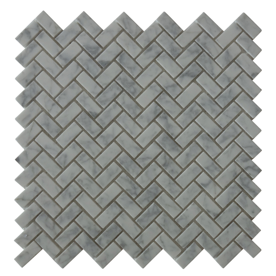 bestview white polished herringbone mosaic natural stone marble wall tile common 11 in x 12 in actual 11 42 in x 11 61 in