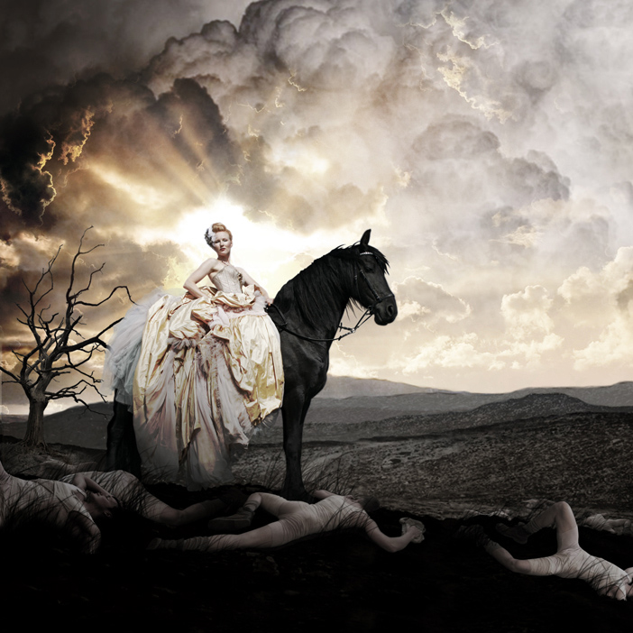 Dennis Diem Nightingale Daan Colijn backdrop visual fashion Amsterdam model soldiers war wasteland horse clouds sunlight wedding dress