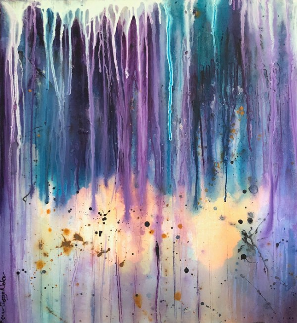 the thrill is gone by karen nolan, an abstract painting with purple , aqua and black drips