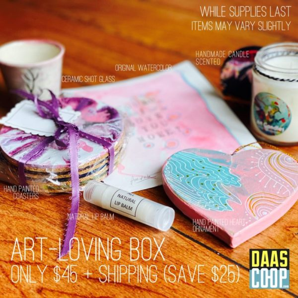 The Art-Loving Box includes: Ceramic Shot Glass Original Watercolor Handmade Scented Candle Hand Painted Coaster Natural Lip Balm Hand Painted Ornament