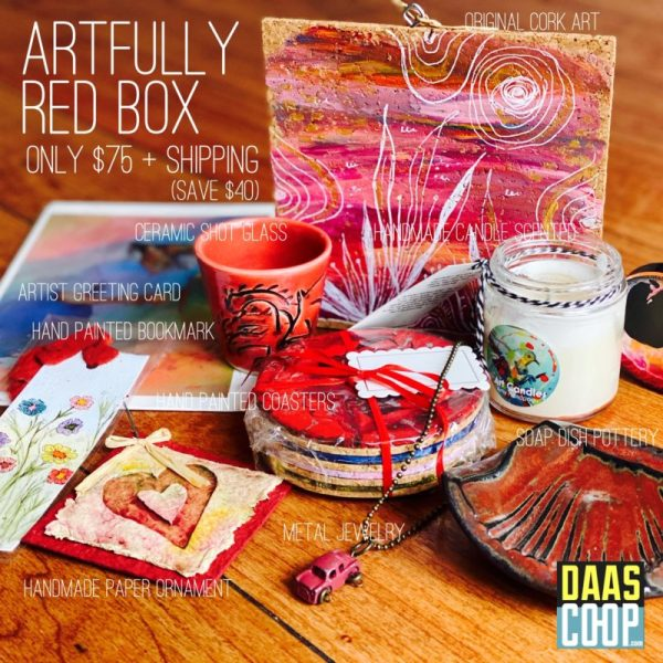 The Artfully Red Box Includes: Hand Painted Coasters Handmade Scented Candle Artist Greeting Card Soap Dish Pottery Hand-painted Bookmark Original Cork Art Metal Jewelry