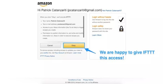 Allowing Amazon permissions