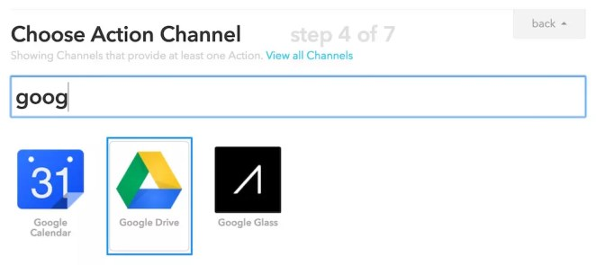 Choosing Google Drive Action Channel