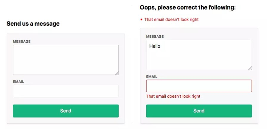 A contact form with email and message with validation errors