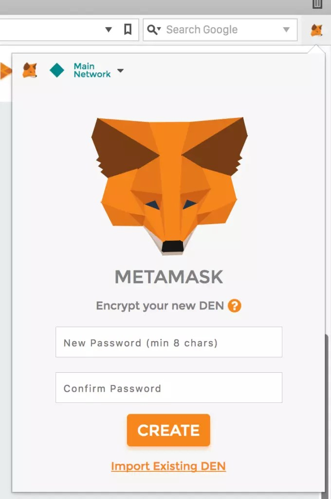 MetaMask password