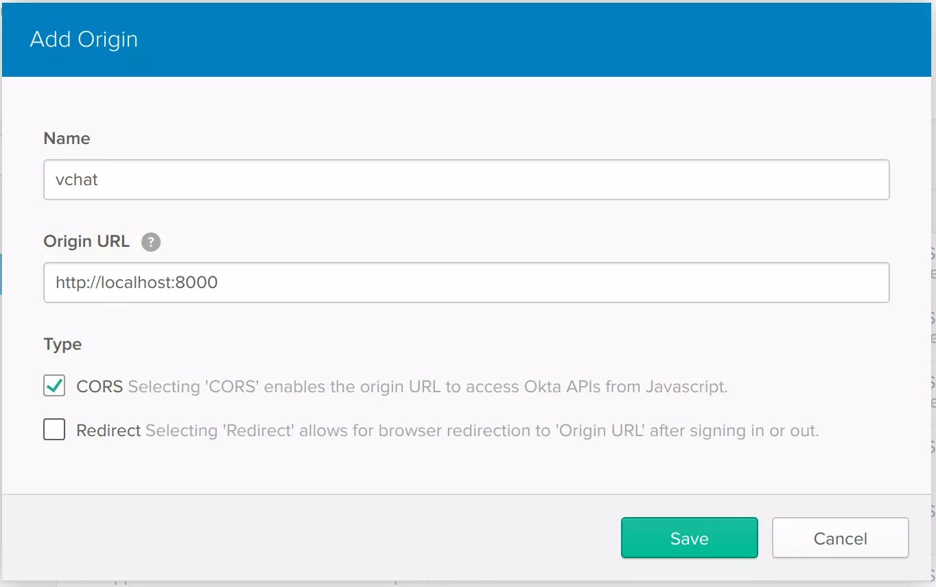 Okta create trusted origin