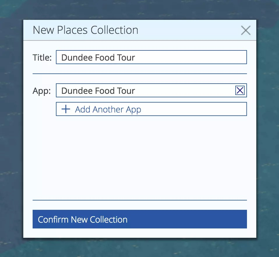 Creating a new place collection