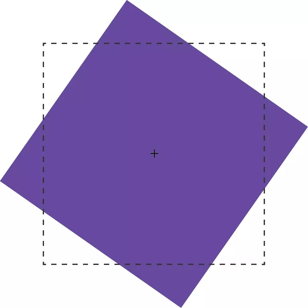 The purple box has been rotated 55 degrees from its start position, shown by the dotted line