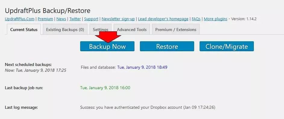 Running remote WordPress backup in Updraft