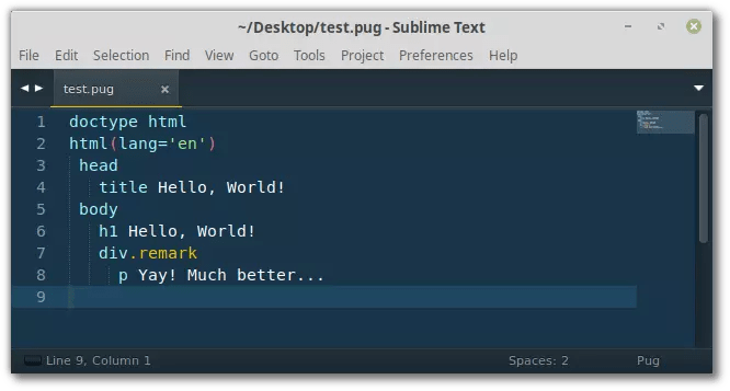 Pug with syntax highlighting