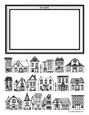 Houses Coloring Page Dabbles Babbles