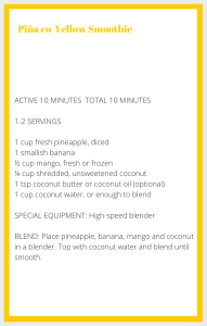 Yellow Smoothie Recipe Card
