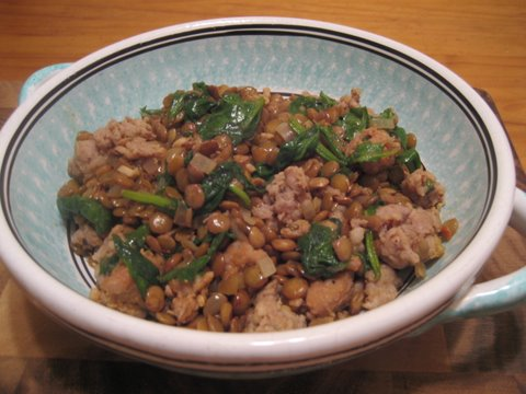 Lentils with spinach and sausage