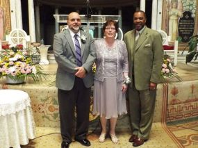 left to right: Pastor Bob; Mrs. Terry Poehler; Pastor Robinson (at their vowal renewals in the Sanctuary on May 17, 2015)