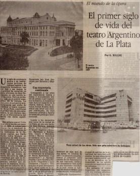 El mundo de la ópera: El primer siglo de vida del Teatro Argentino de La Plata (09/12/1990 La Prensa).