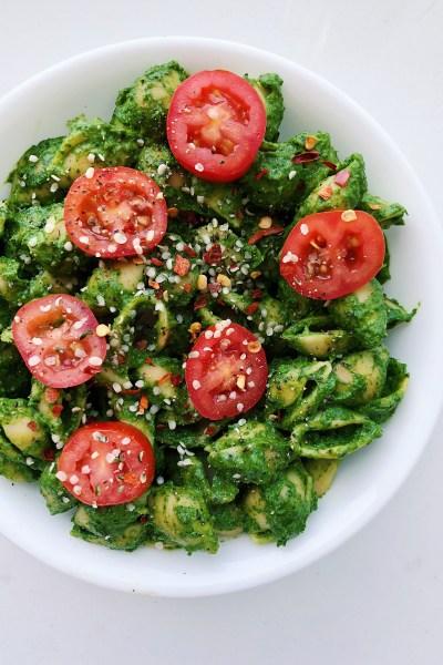 Avocado Kale Hemp Seed Pesto Pasta (Vegan, Gluten-Free, Nut-Free)