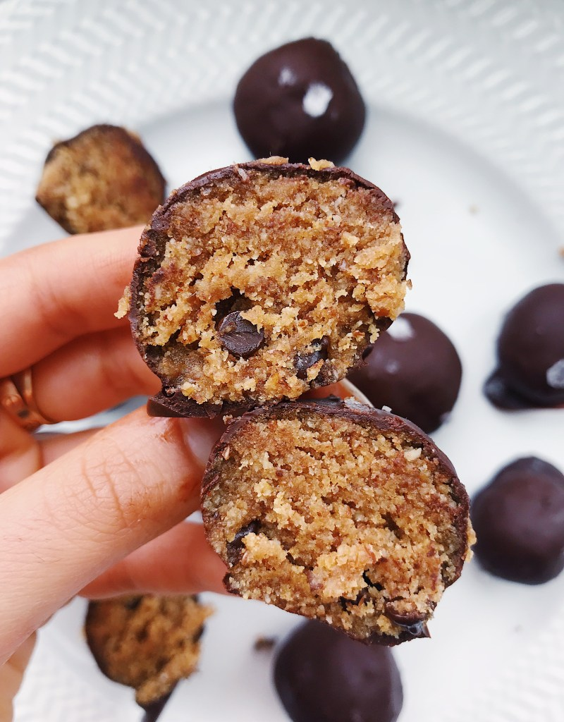 Vegan & Gluten-Free Chocolate Chip Cookie Dough Truffles with Flaked Sea Salt (as featured on the TODAY Show!)