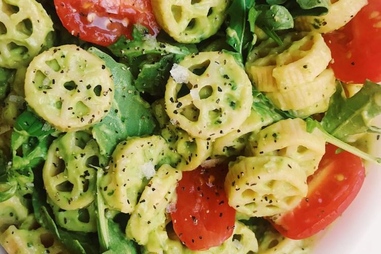 Avocado Cream Pasta with Roasted Tomatoes and Arugula (Vegan & Gluten-Free)