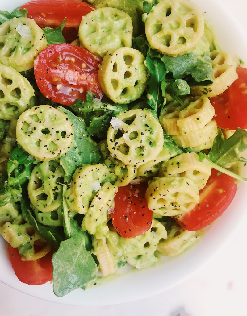 Avocado Cream Pasta with Roasted Tomatoes and Arugula (Vegan & Gluten-Free)