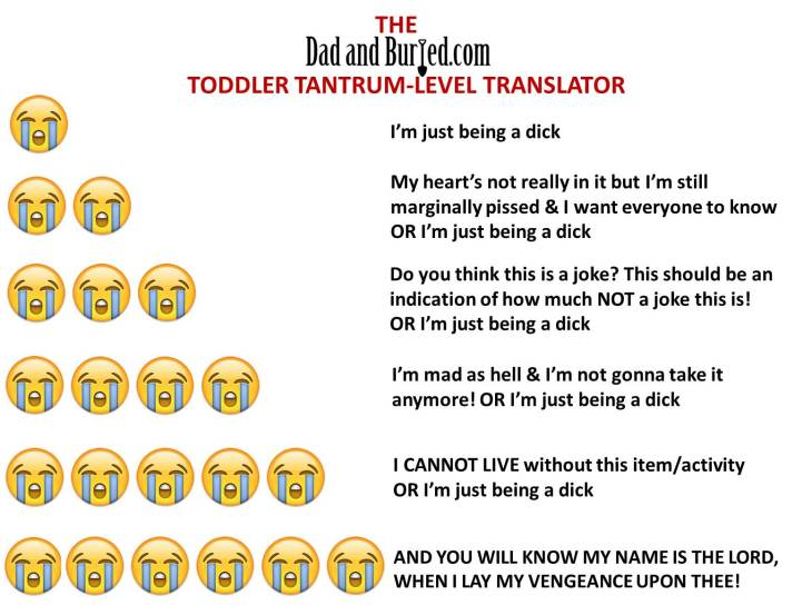 parenting, humor, funny, dad bloggers, tantrum, terrible twos, toddlers, dads, motherhood, fatherhood, family, home, children, kids, stress, tantrum translator