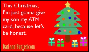 spoiler alert christmas, shopping, holidays, kids, money, gifts, atm card, parenting, dads, moms, stress, honesty, ecard, funny, humor, dad bloggers