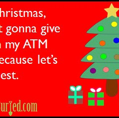 spoiler alert, christmas, shopping, holidays, kids, money, gifts, atm card, parenting, dads, moms, stress, honesty, ecard, funny, humor, dad bloggers