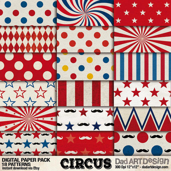 Vintage Circus Patterns digital paper pack 02