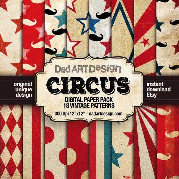 Vintage Circus Patterns Digital Paper Pack