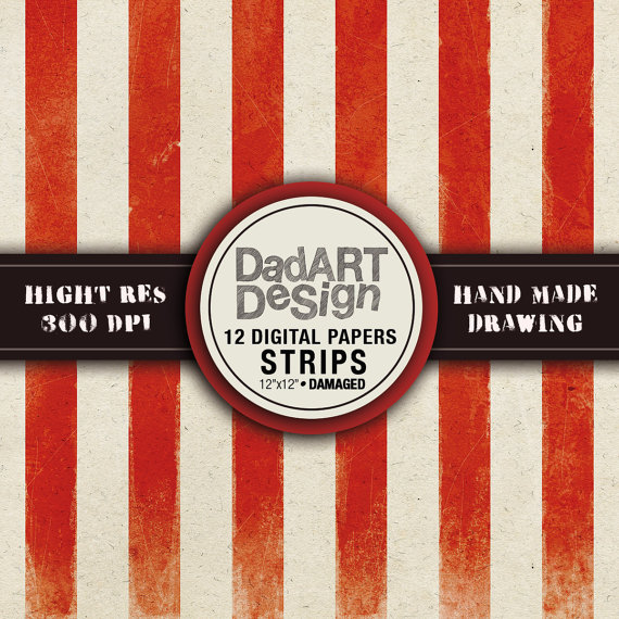 12 Vintage strips patterns digital paper pack