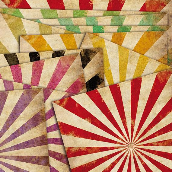 Old Sunburst Ray Pattern Digital Paper Pack