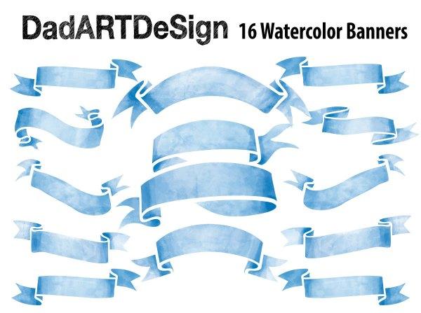 Blue Watercolor Ribbon Banner