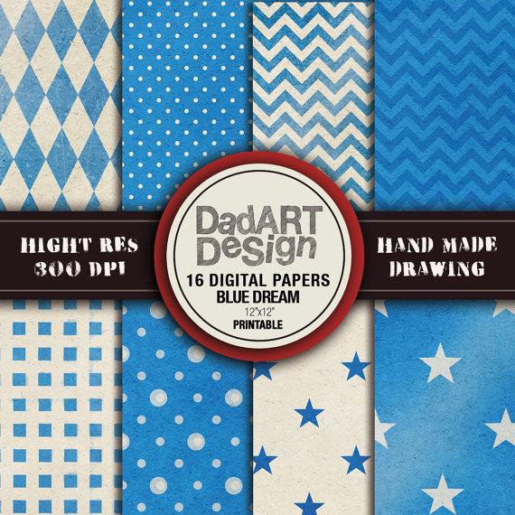 16 Blue Dream Patterns Digital Paper