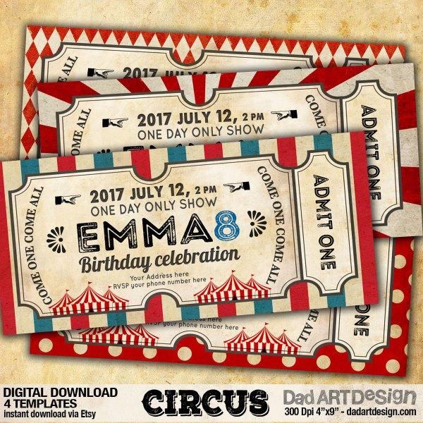 Circus Invitation Card templates