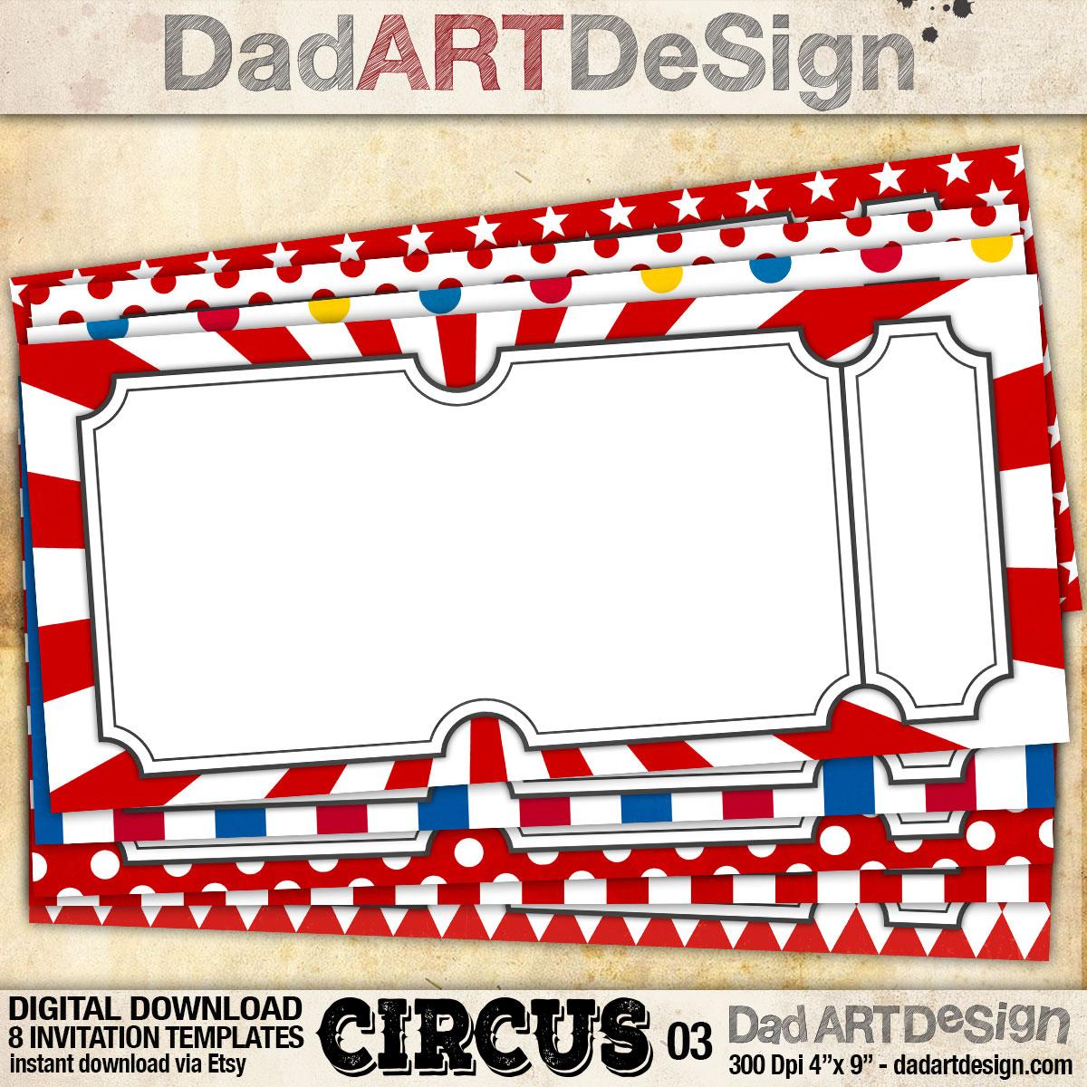 Circus 03 - 8 invitation card templates - dadartdesign