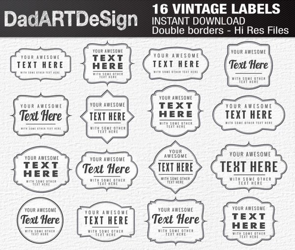 vintage labels with thin double border