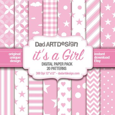 It's a Girl - Pattern Digital Paper Pack