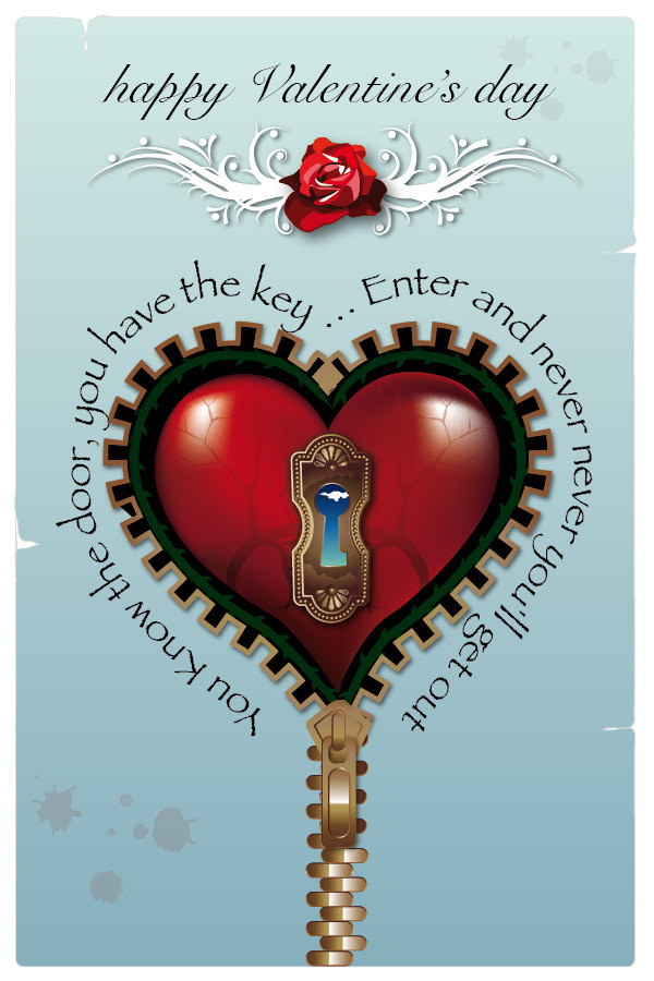 Blue Steampunk Valentine's day printable card