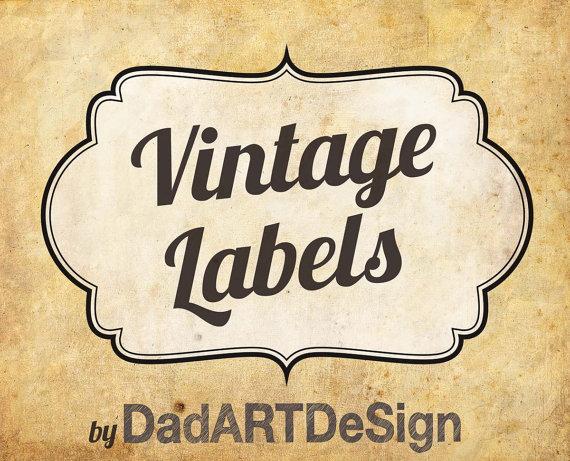 Vintage Labels with elegant double tin border